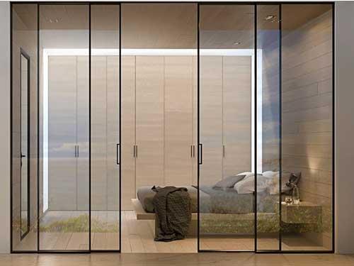 Vách ngăn nhôm kính cửa lùa phòng ngủ siêu mỏng